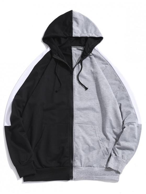 shop Color Blocking Zipper Up Casual Hoodie - GRAY 3XL