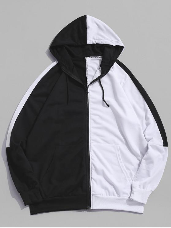 shops Color Blocking Zipper Up Casual Hoodie - WHITE M
