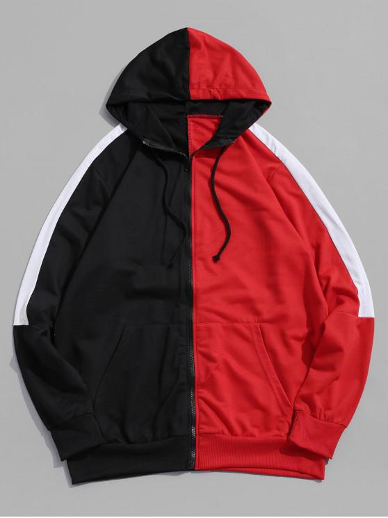 affordable Color Blocking Zipper Up Casual Hoodie - RED 2XL