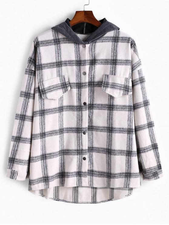 trendy Faux Pocket Plaid High Low Colorblock Hood Shirt Jacket - WHITE 2XL