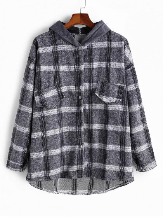 chic Faux Pocket Plaid High Low Colorblock Hood Shirt Jacket - GRAY L
