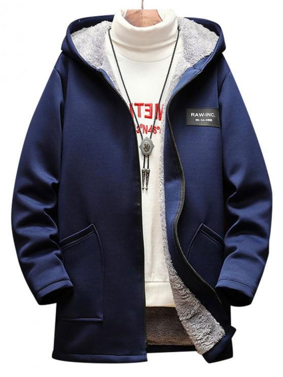 Lässige Buchstabe Muster Reißverschluss Flauschige Jacke - Kadettenblau L