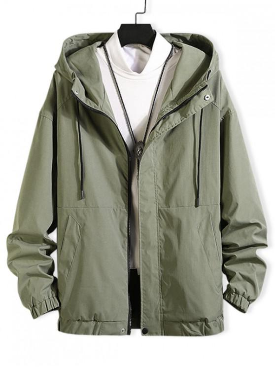 new Drawstring Solid Zip Up Hooded Jacket - ARMY GREEN 3XL