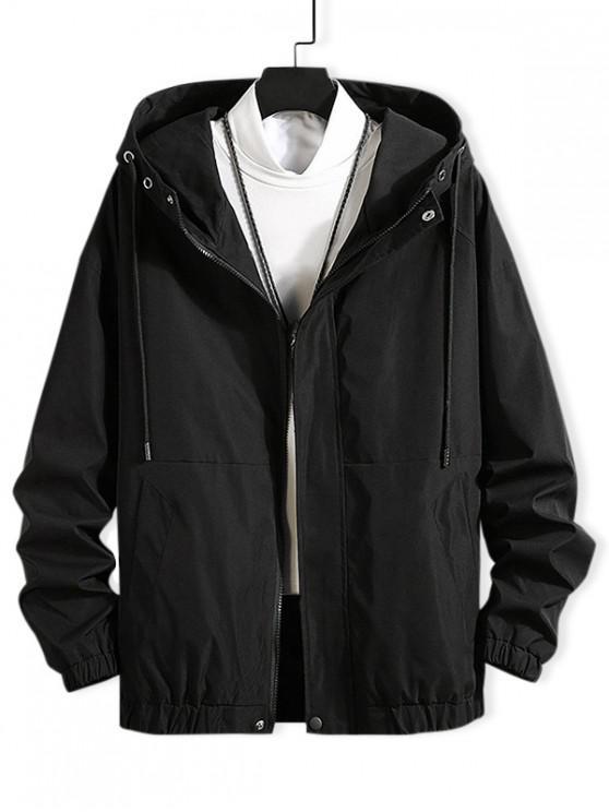 shops Drawstring Solid Zip Up Hooded Jacket - BLACK 2XL