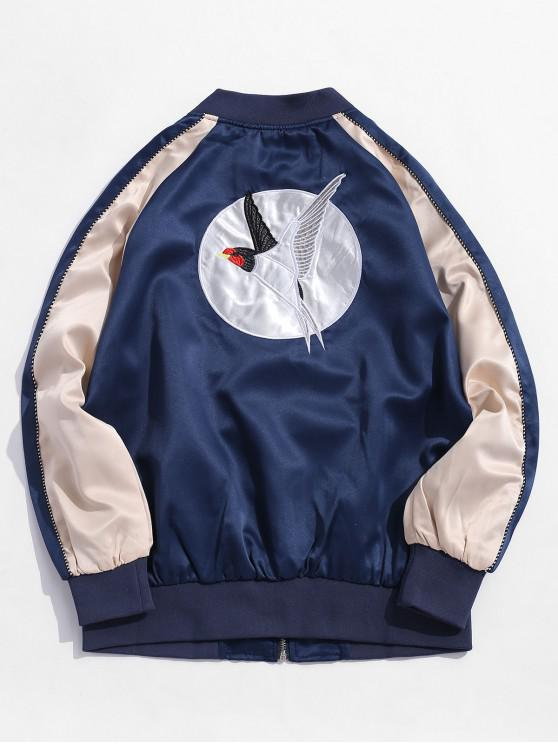 unique Bird Embroidery Oriental Colorblock Raglan Sleeve Jacket - CADETBLUE XL