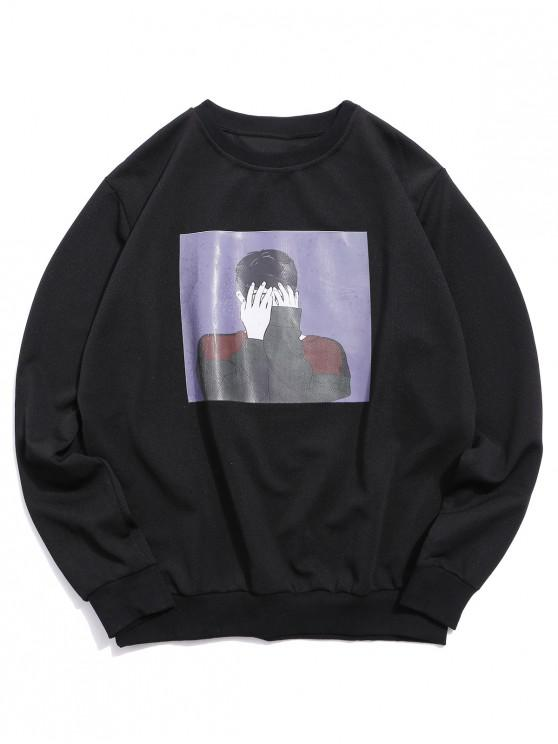 chic Graphic Character Printed Casual Sweatshirt - BLACK L