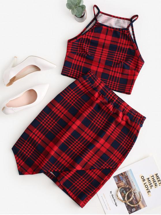 latest Cropped Overlap Plaid Asymmetrical Two Piece Dress - CHERRY RED L