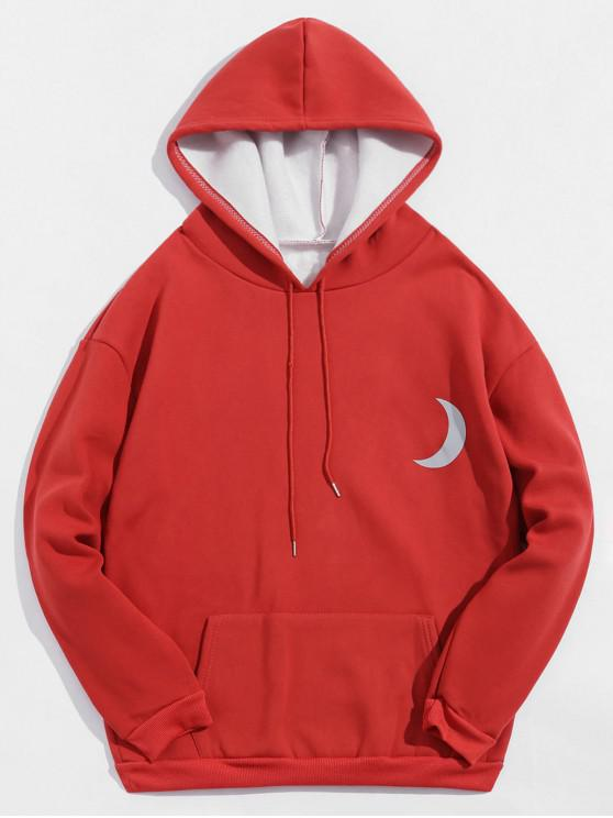 best Reflective Moon Print Drawstring Fleece Hoodie - ROSE RED L