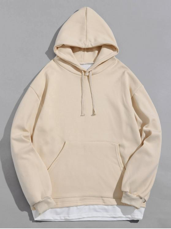 shop Colorblock Spliced Kangaroo Pocket Fleece Hoodie - BEIGE 2XL