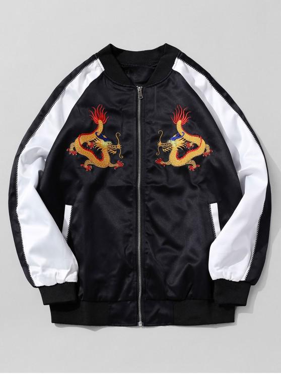 affordable Dragon Embroidery Oriental Colorblock Raglan Sleeve Jacket - BLACK 2XL