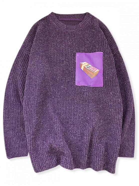 Telefon Grafik Tropfen Schulter Gebundener Pullover - Lila M