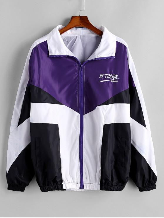 chic Colorblock Letter Embroidery Raglan Sleeve Jacket - PURPLE 2XL