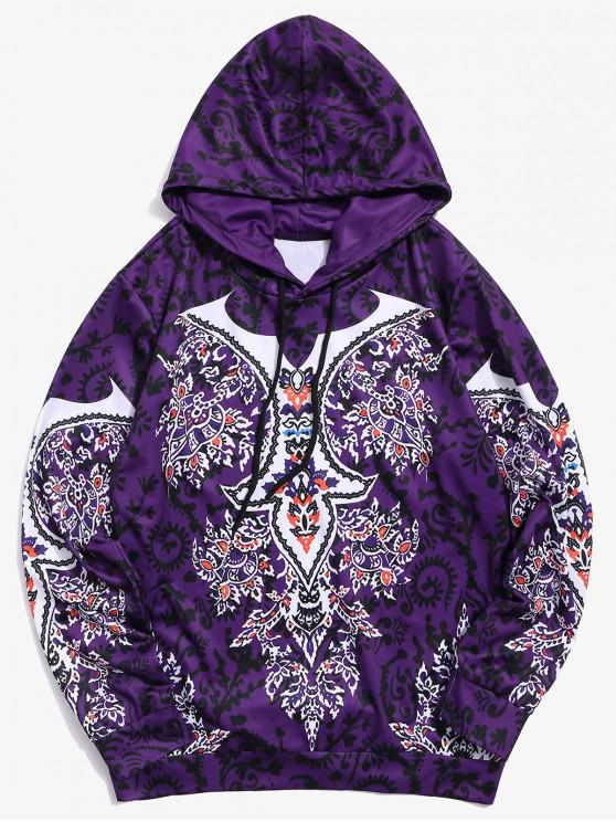 fancy Floral Print Casual Drawstring Hoodie - PURPLE XL