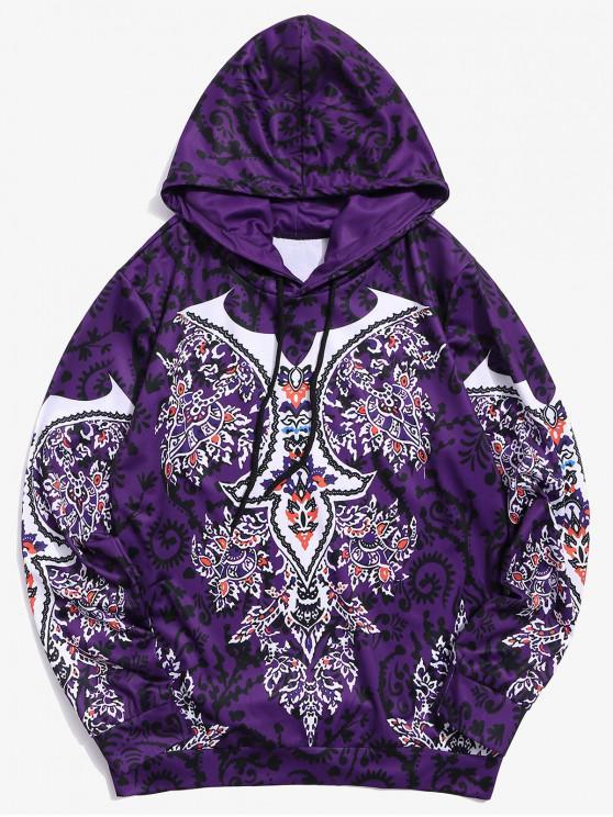 sale Floral Print Casual Drawstring Hoodie - PURPLE 3XL