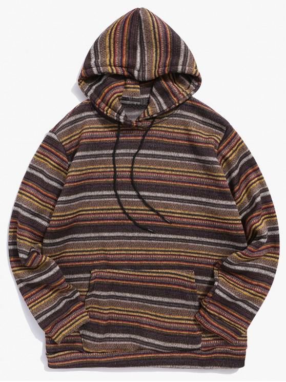 best Vintage Colorful Striped Print Hoodie - COFFEE L