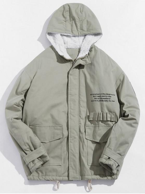 buy Letter Graphic Print Zipper Fluffy Jacket - LIGHT GREEN XL