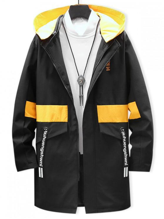 women's Graphic Pattern Zipper Up Hooded Jacket - BLACK XS
