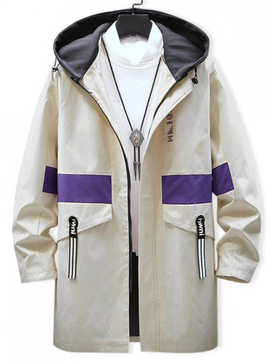 outfit Graphic Pattern Zipper Up Hooded Jacket - BEIGE L