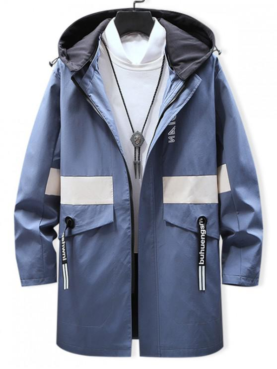 latest Graphic Pattern Zipper Up Hooded Jacket - CORNFLOWER BLUE L