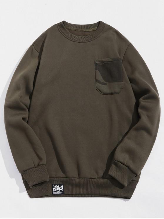 women's Camouflage Print Chest Pocket Fleece Sweatshirt - ARMY GREEN XL