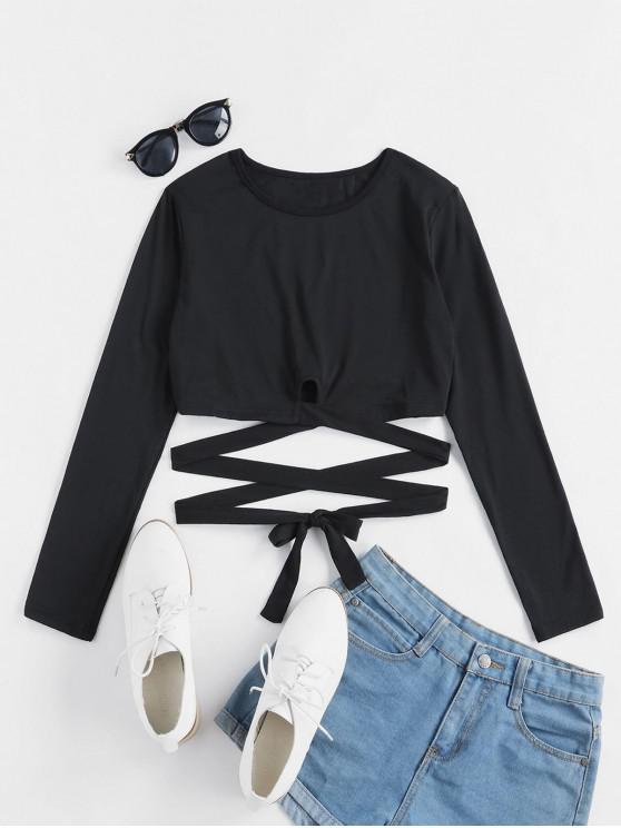 lady Crisscross Long Sleeve Crop T-shirt - BLACK XL