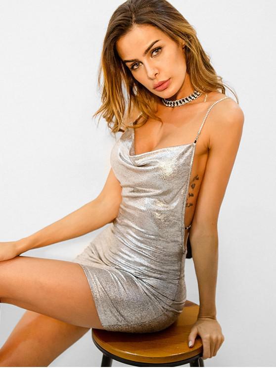 womens Criss Cross Back Sparkly Glittery Bodycon Dress - SILVER S