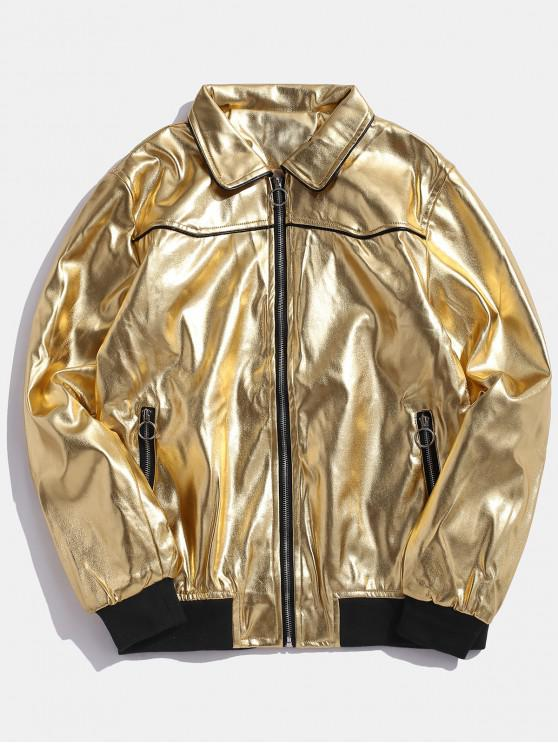 chic O-ring Pull Faux Leather Zip Up Jacket - GOLD L