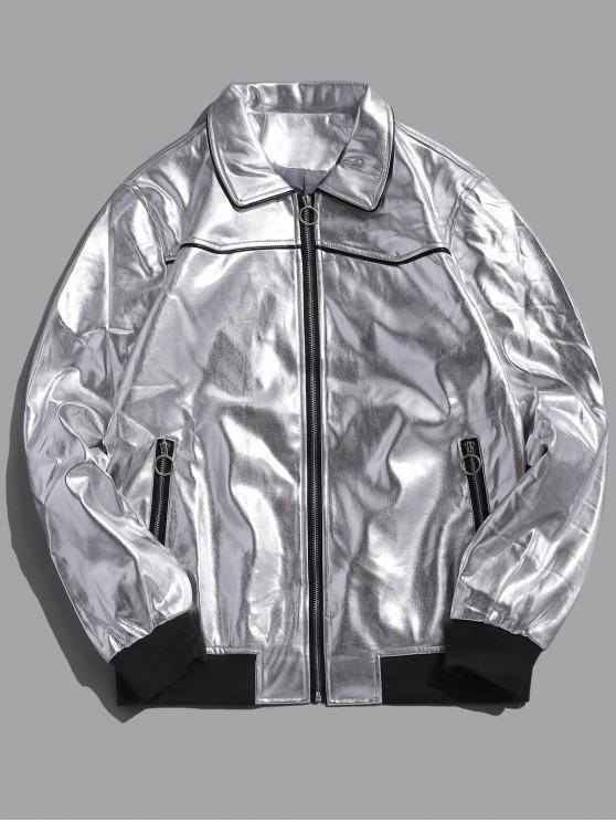 womens O-ring Pull Faux Leather Zip Up Jacket - SILVER 2XL