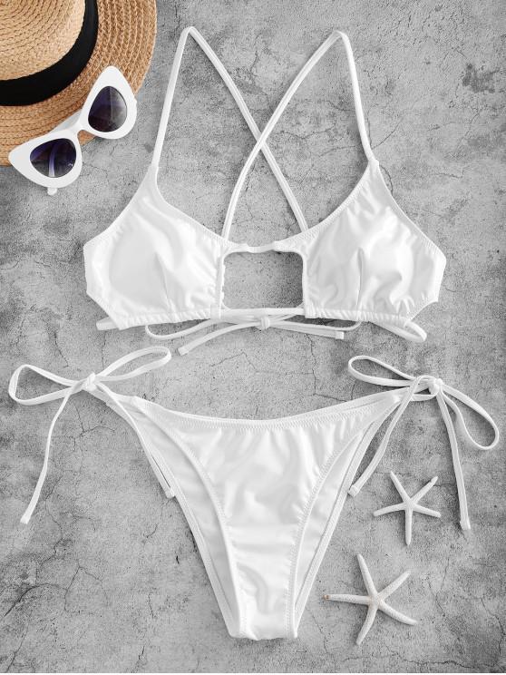 womens ZAFUL Cutout Patent Leather Solid Bikini Set - WHITE S