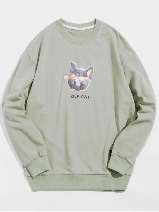 latest Golf Cat Letter Print Casual Sweatshirt - LIGHT GREEN M