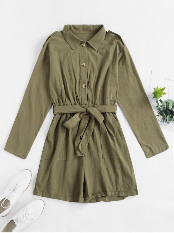 fancy Half Button Belted Rolled Cargo Romper - ARMY GREEN M