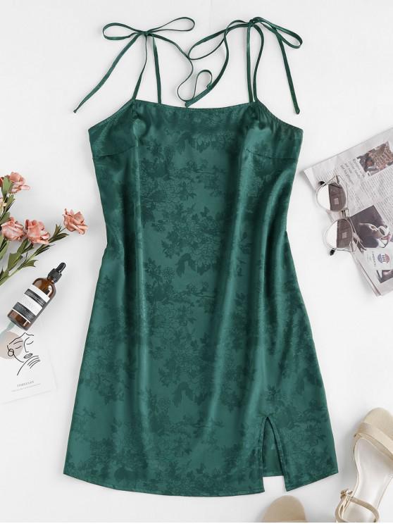 fashion ZAFUL Jacquard Tie Shoulder Cami Slit Dress - MEDIUM SEA GREEN M