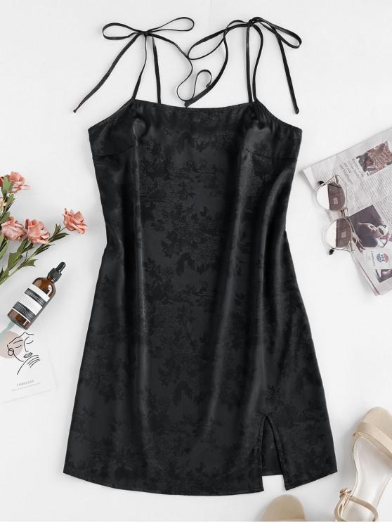 ZAFUL提花領帶肩縫吊帶背心連衣裙 - 黑色 L