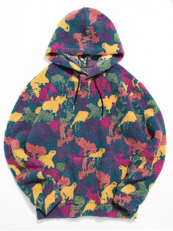 Tierdruck Känguru Tasche Flauschige Hoodie - Multi 2XL