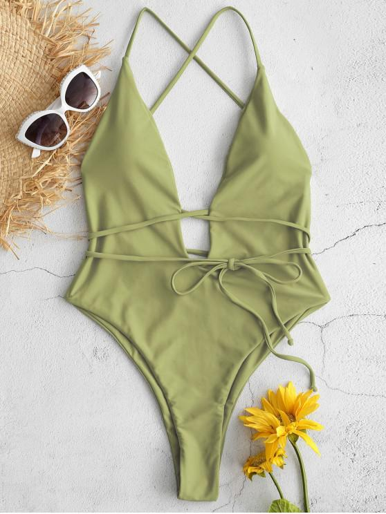 unique ZAFUL Backless Plunging High Leg Swimsuit - AVOCADO GREEN M