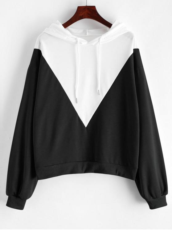 outfits Drop Shoulder Drawstring Two Tone Hoodie - BLACK S