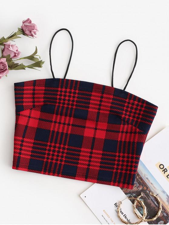 fashion Cropped Bungee Plaid Cami Top - CHERRY RED L