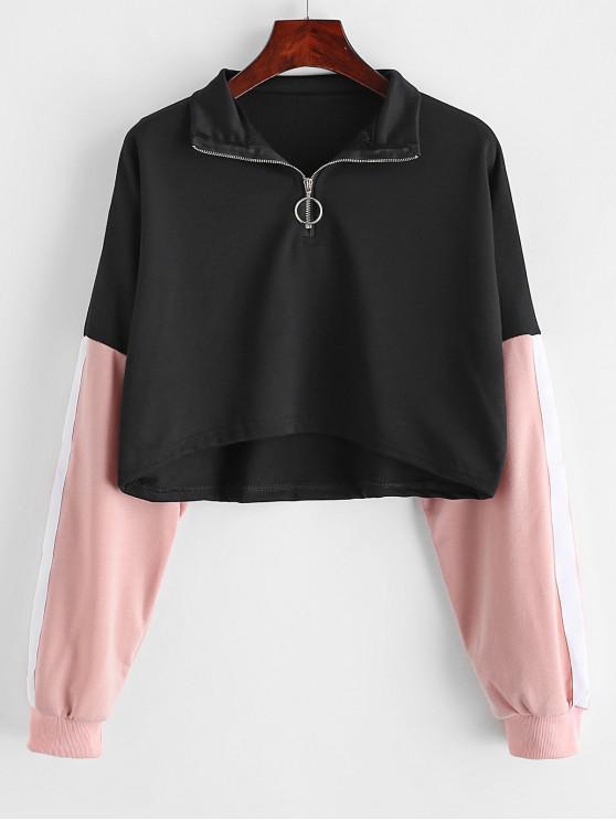 Sweat-shirt en Blocs de Couleurs Goutte Epaule à Demi-Zip - Noir L