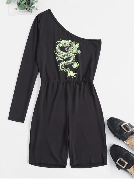 women's Dragon Print One Shoulder Skinny Romper - BLACK M