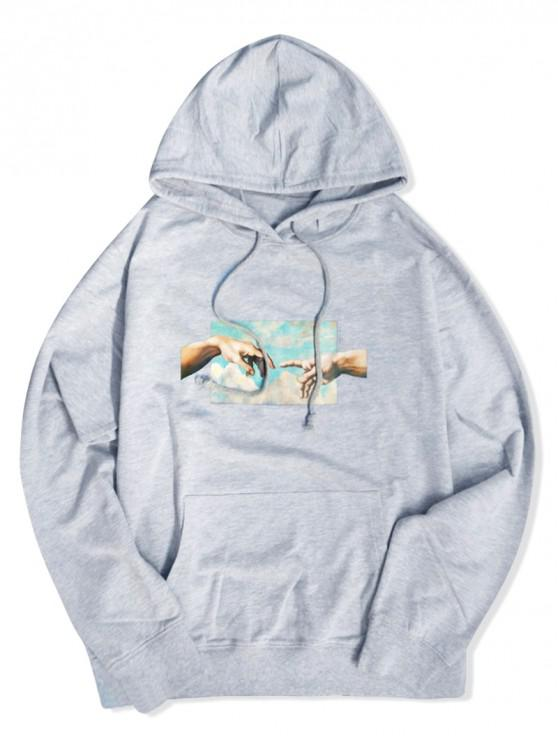 affordable Helping Hands Graphic Front Pocket Lounge Hoodie - GRAY L