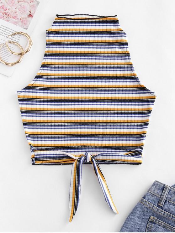 Vita del legame ritagliata coste Stripes Canotta - Multi Colori-A M