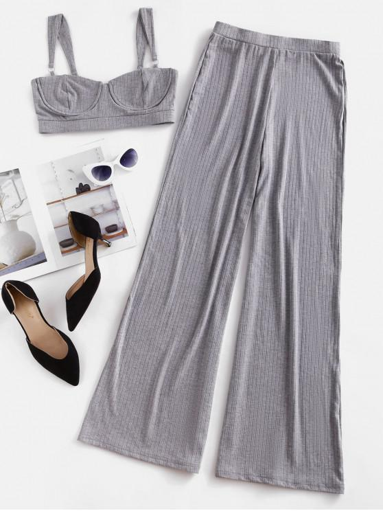 outfits Two Piece Ribbed Bustier Top And Pants Set - GRAY CLOUD L