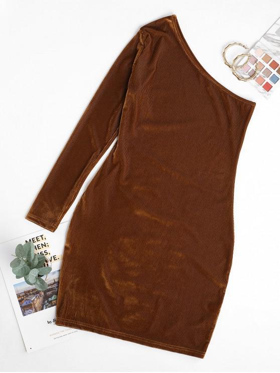 lady Velvet One Shoulder Bodycon Mini Dress - LIGHT BROWN M