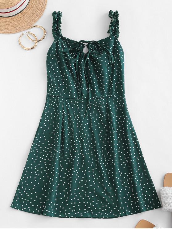 圓點並列荷葉肩帶連衣裙 - 綠色 XL