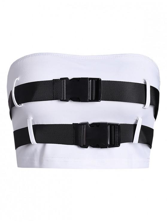 chic Buckle Belted Cargo Bandeau Top - WHITE L
