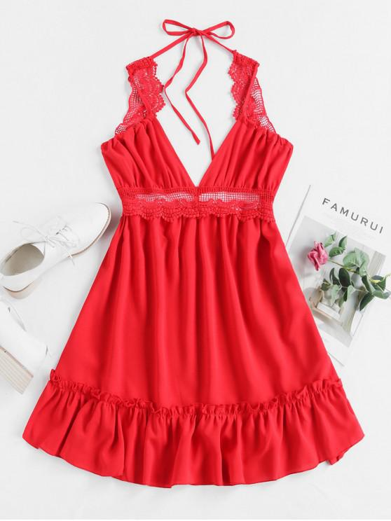fashion Lace Panel Frilled Cami Dress - RED L