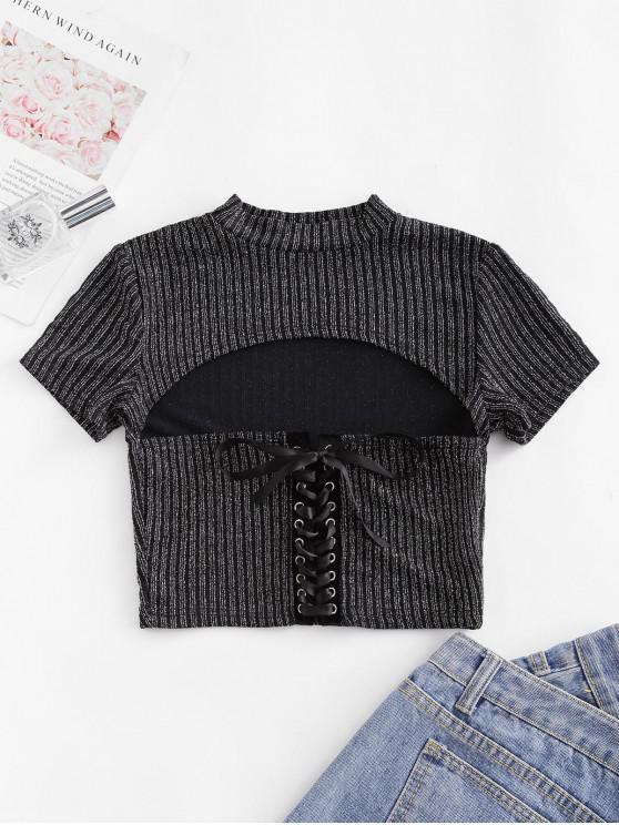 women's Ribbed Metallic Lace Up Cut Out Tee - BLACK M