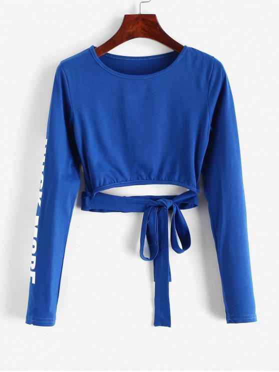 fancy Tie Waist Cut Out ROCK MORE Graphic Cropped Tee - BLUE S