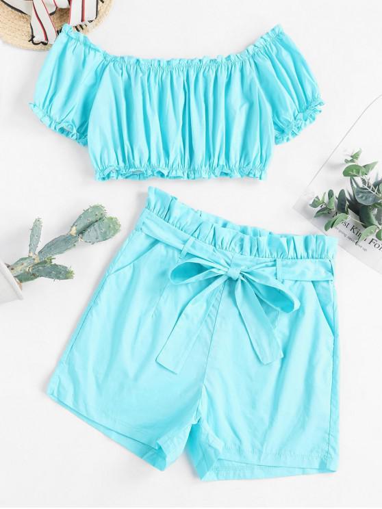 fancy Off Shoulder Paperbag Waist Pocket Shorts Set - TURQUOISE M