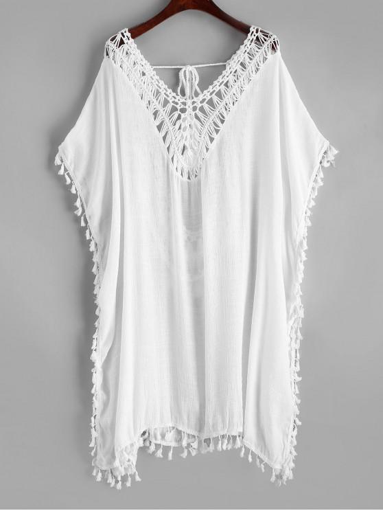 new Crochet Panel Tassels Kaftan Dress - WHITE ONE SIZE